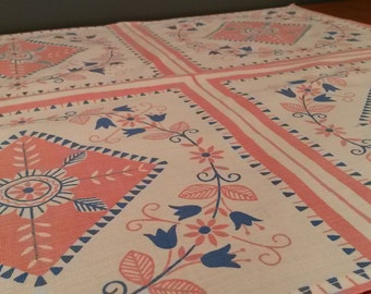Vintage printed linen  table cloth - Sweden - 1960s (V72)