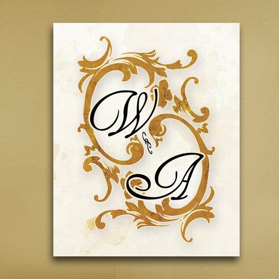 Personalized Wedding Canvas: Personalized Wedding Golf Leaf Canvas Wall Art Custom