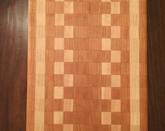 Handcrafted Edge Grain Cutting Board with Maple and Cherry 10x16x1