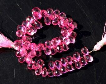 1/4 Strand 18 Pcs Pink Mystic Quartz Micro Faceted Teardrop Briolettes Size 9 - 13 mm approx gemstone briolette beads A06
