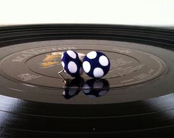 Navy Blue Polka Dot Earrings