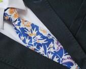 Necktie, Mens Necktie, Neck Tie, Groomsmen Necktie, Ties, Tie, Wedding Neckties, blue floral Necktie, Batik Necktie