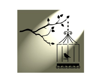 Birdcage bird hanging tree Shabby Chic Rustic Stencil Vintage style A4 297x210mm