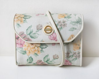 Floral and White Shoulder Bag, Michael Stevens White Canvas Purse