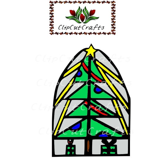 Christmas stained glass tree window holiday season clip art