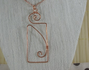OOAK Art Deco-inspired Copper Statement Necklace - one of a kind hammered wire wrapped pendant with matching chain