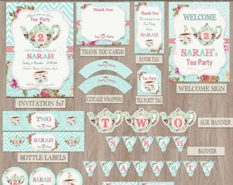 Tea party birthday, Tea for two, Tea party party package, Tea party decorations, Floral tea party, 2nd birthday, tea for 2, Tea party pack