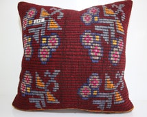 """24""""x24"""" Bohemian Pillow Embroidered Turkish Pillow 60x60 Kilim Pillow Cover 24x24  Coral Kilim Pillow Oversize Floor Cushions SP6060-296"""