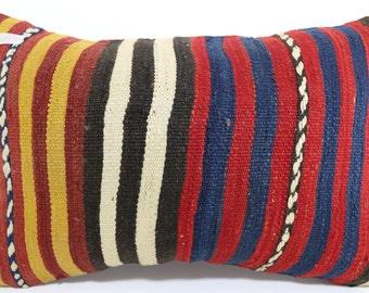 kilim lumbar pillow Turkish Striped Kilim Pillow 16x24 Striped Pillow Cushion cover Multicolour pillow Antique Pillow Home Decor SP4060-260