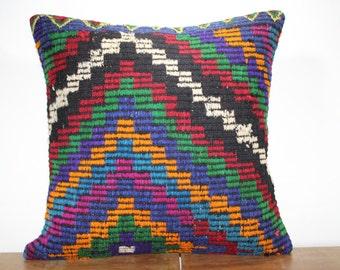 "24""x24"" Kilim Pillow Cover - Decorative Pillow - Large Size Kilim Pillow - Embroidered Designs Vintage Turkish Kilim Pillow Cases SP6060-17"