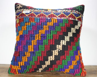 "Kilim Pillow Cover 24""x24"" - Decorative Pillow - Large Size Kilim Pillow - Embroidered Designs Vintage Turkish Kilim Pillow Cases"