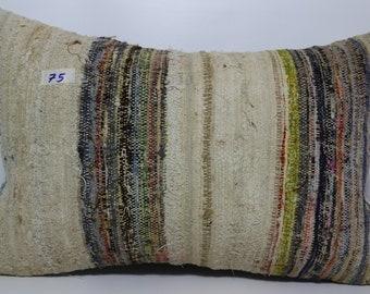 16x24 Multi Color Kelim Kissen 16x24 Turkish Kilim Pillow 16x24 Striped Kilim Pillow,Decorative Pillow,Boho Pillow,Bed Pillow SP4060-75
