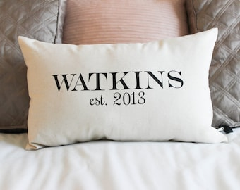 Personalized Last Name Canvas Pillow Cover