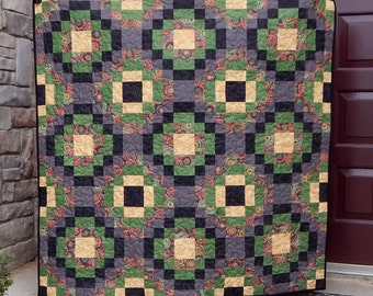 Handmade Modern Lap Quilt, Floral Quilt, Green Red Yellow, Black Quilt, Patchwork Blanket, Homemade Quilts for Sale