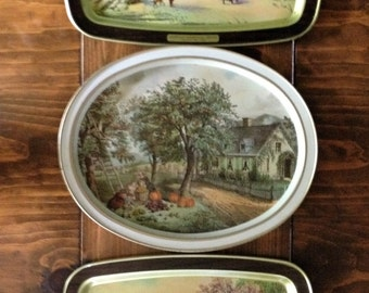 """Vintage Currier & Ives Tray Set of 3, """"Homestead"""", Serving Trays, Mid Century, Drink, Wall Decor"""