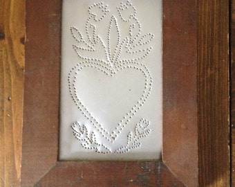 Heart with Flowers Punched Tin with Frame Floral Primitive 8.5 x 11.5 Metal Rustic Floral Roses Tulips wall hanging