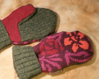 Upcycled Sweater Mittens - women's medium - purple and orange floral wool