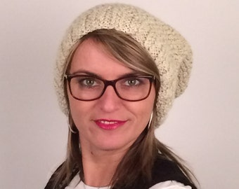 Slouchy Beanie for hand knitted woman