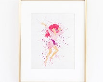 Jem and the Holograms Cartoon Watercolor silhouette Fine Art Print, instant digital download quality poster for wall  kids or nursery decor