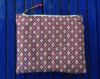 Zipper pouch, cosmetic bag, makeup bag, Clutch Bag, fabric from Malaysia, Handmade