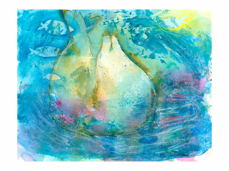 seal fine art print watercolor seascapes watercolor wildlife