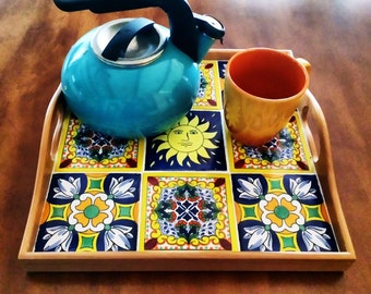 You Are My Sunshine/Coffee Table Tray/Talavera Tile Centerpiece/Entry Table Decor/Cinco De Mayo Fiesta Decorations /Bar Cart Breakfast Tray