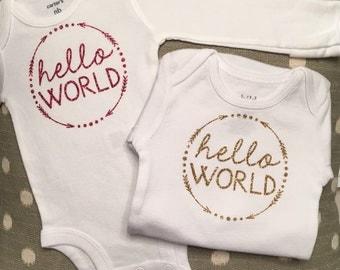 Hello World Onesie   Hospital Baby Outfit   Newborn Onesie  