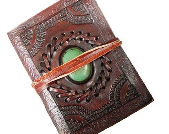 Customize Turquoise Stone Stitched Leather Journal Notebook Leather Diary Leather Travel Journal