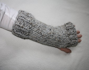 Knit Fingerless Gloves, Knit Arm Warmers, Chunky Knit Fingerless Gloves, Knit Hand Warmers, Riverside Gloves - Grey Marble