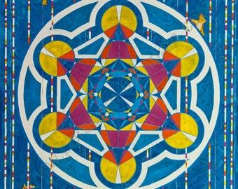 "Mandala ""Metatron Cube"" (Reproduction on canvas)"