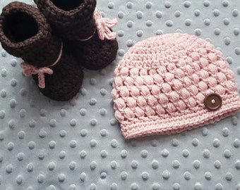 baby girl hat and booties set