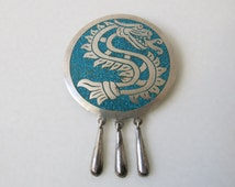 VINTAGE MEXICAN BROOCH - Handcrafted Quetzalcoatl feathered serpent silver and turquoise brooch