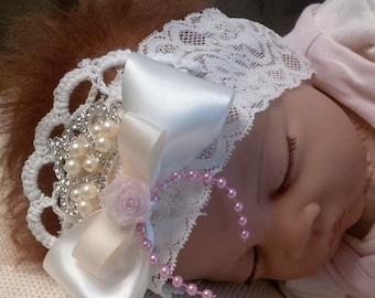 Girls Headband in Cream and soft Pink with Pearl Rhinestones