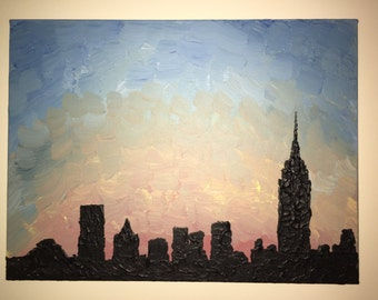 New York City NYC Skyline at Sunset - Acrylic Painting on Canvas with Texture 15x15