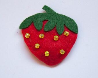 Strawberry Pin Badge/Brooch.