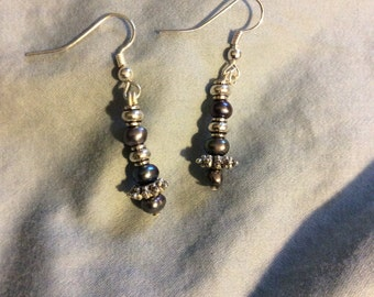 Silver with freshwater pearls dangle earrings