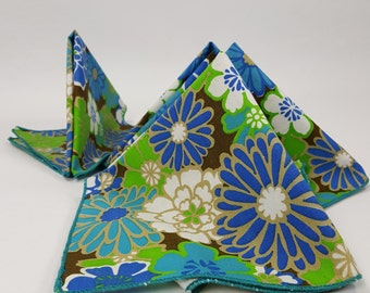 Mod Floral Cloth Napkins Gerber Daisy Blue Green White Brown Mad Men