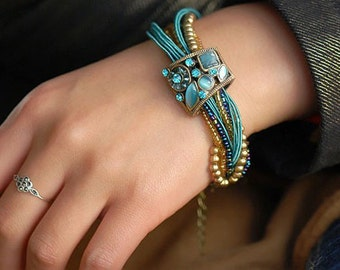 Blue Crystal Beads Multilayer Bracelet