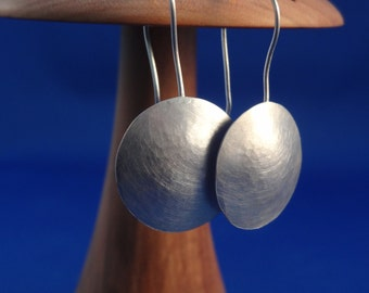 Matted Sterling Silver Hammered Earrings