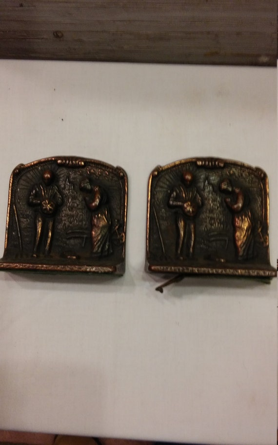 Vintage 1920s Verona Bookends Depicting a Farm Couple Praying Over Their Crops with Their Church in the Background. Brass Clad Cast Iron.