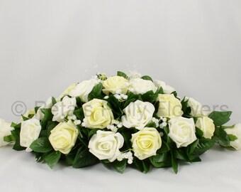 Silk Wedding Flowers, Lemon & Ivory Rose Top Table Decoration