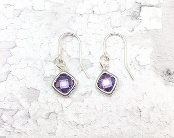 Amethyst Earrings, Purple Earrings, Amethyst Coloured Earrings, Lilac Earrings, Purple Drop Earrings,