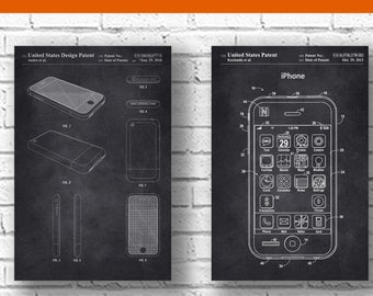 iPhone Patent,set of 2,iPhone Poster, Apple Computer, Macintosh, Steve Jobs, Phone Decoration, Technology Art,Electronics,patentprints #P236
