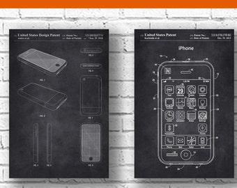 iPhone Patent,set of 2,iPhone Poster, Apple Computer, Macintosh, Steve Jobs, Phone Decoration, Technology Art,Electronics,patentprints #P236