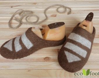 Men home slippers wool Brown - Shoes handmade house slippers - Home felted wool slippers - Home men shoes