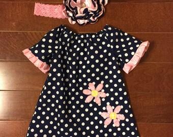 Navy Polka Dots with Pink Daisies