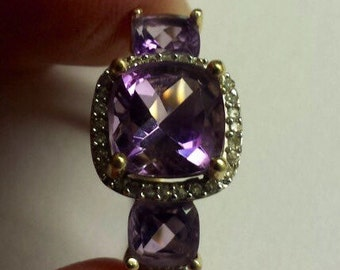 14K Yellow Gold Ring With Diamonds and Amethyst, Size 7.75