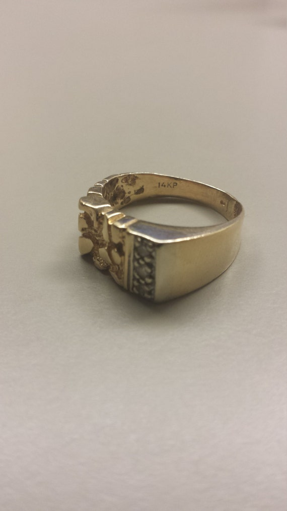 14k yellow gold nugget styled s ring with by thegoldenloot