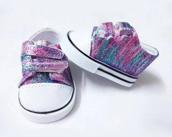 American Girl Doll Rainbow Glitter Shoes