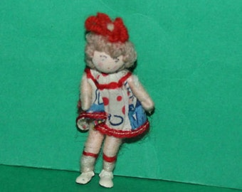 Vintage Dolls House Girl Grecon Doll With Red Hair Ribbon KM5015
